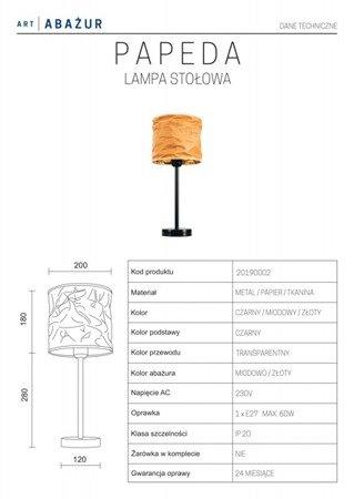 LAMPA STOŁOWA KOLOR MIODOWY