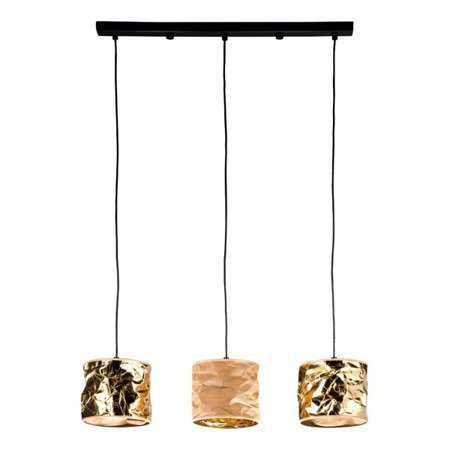 LAMPA WISZĄCA POTRÓJNA KOLOR ZŁOTY/BEŻOWY